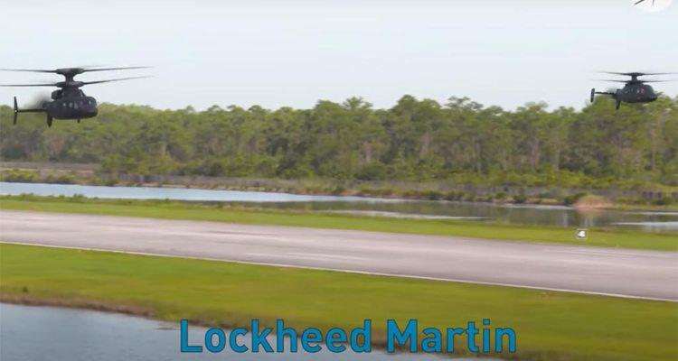 Volo in formazione del Raider X e del Defiant gli elicotteri Lockheed Martin, Sikorsky e Boeing in gara per il programma Future Vertical Lift per lo US Army